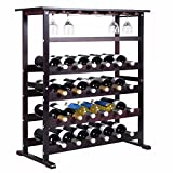 New 24 Bottle Wood Wine Rack Holder Storage Shelf Display w/ Glass Hanger