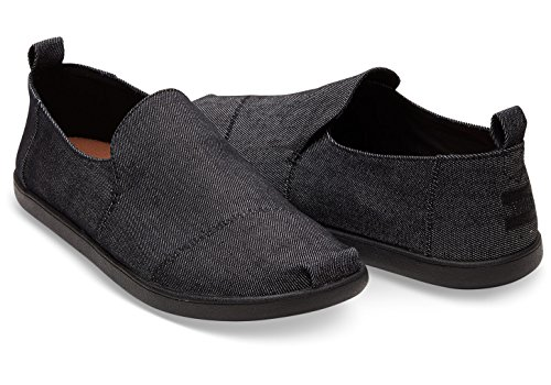 Toms Mens Deconstructed Alpargata Black On Black Denim Canvas Shoes (Denim Canvas Footwear)