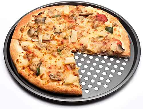 AFYBL Carbon Steel 12-inch Pizza Baking Tray Large Round Non Stick Oven Pan with Holes