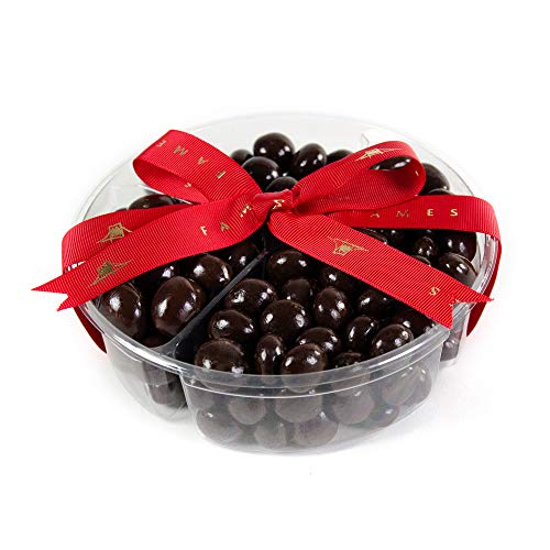 Dark Chocolate Covered Cordials Assortment - Four Sectional Gift Tray, includes Espresso Caramels, Chocolate Covered Almonds, Chocolate Covered Pretzels and Fruity Balls,Kosher