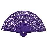panel hand fan - OULII Folding Hand Fan Chinese Folding Wood Panel Hand Fan Folding Fan Favors with White Organza Bag for Weddings (Purple)