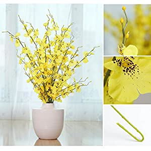 YILIYAJIA Artificial Flowers Bouquets Fake Bridal Silk Butterfly Dancing Lady Orchid Flowers,Oncidium Floral for Wedding Home Office Decoration(8 pcs) (Light Yellow) 3
