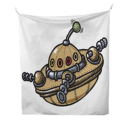 - 25 Home Decor Tapestries Cartoon Image of Flying Saucer dope Tapestries 60W x 91L INCH