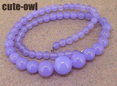 FidgetGear 6-14 MM Lavender Jade Gemstone Beaded Necklace 17.5''AAA+