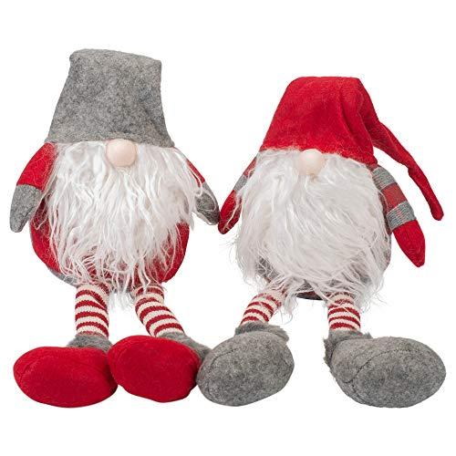 Transpac Imports, Inc. Santa Gnome Shelf Sitter Red 25 x 8 Plush Christmas Holiday Figurines Set of 2