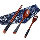Startview Japanese Vintage Wooden Chopsticks Spoon Fork Tableware 3pcs Set New Gift (Brown)