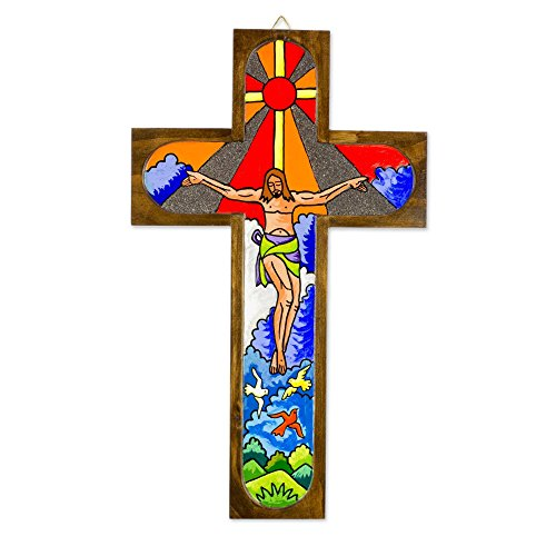 NOVICA 290989 Splendor of Jesus Wood Wall Cross, Brown