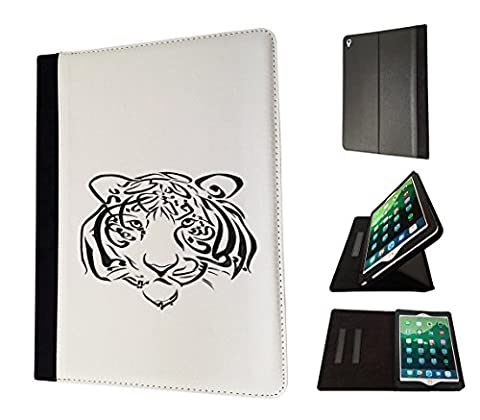 002683 - Black Arabic Writing Tiger King Of The Jungle Design Apple ipad Air 2 - 2015-2016 Flip Case Purse pouch Stand (Ipad Air 2 Cover Tiger)