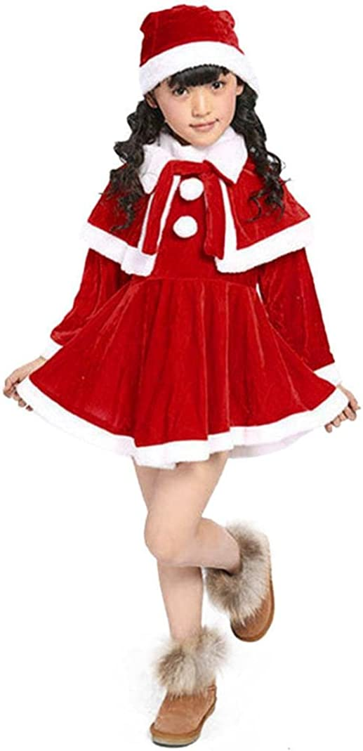 Witspace Baby Girls Long Sleeve Princess Dress+Shawl+Hats Toddler Kids Christmas Party Dress Outfits
