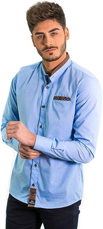 DIVARO - Camisa Cuello Mao Color Celeste - Detalles para Hombre: Amazon.es: Ropa y accesorios