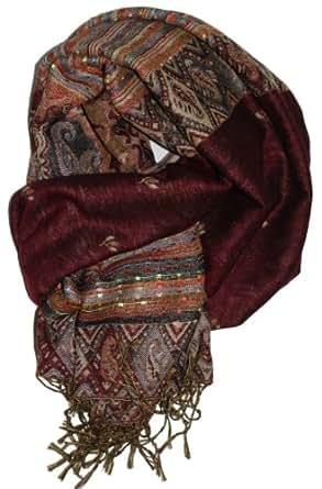 LibbySue-Foulard/Tapestry Border Pashmina Scarf Wrap (Burgundy and Tan)
