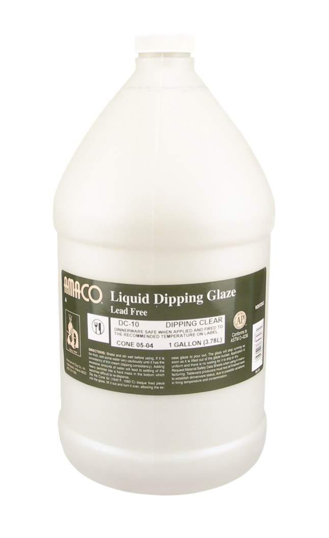 AMACO Low Fire Liquid Dipping Glaze, Clear DC-10, 1 Gallon Jar