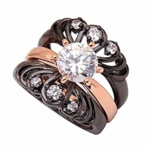 Amazon.com: UFOORO Black Rose Gold Plated Flower Crown ...