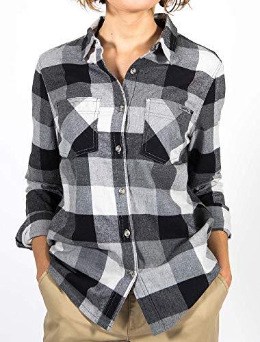 Gramicci Womens General Purpose Flannel Organic Plaid Shirt, Heather Grey, Medium (Pants Gramicci Women)