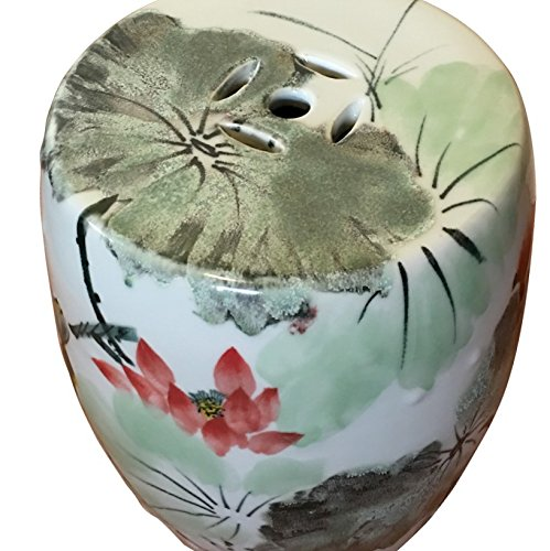 Chinese Painted Garden Stool in Water Lily Design