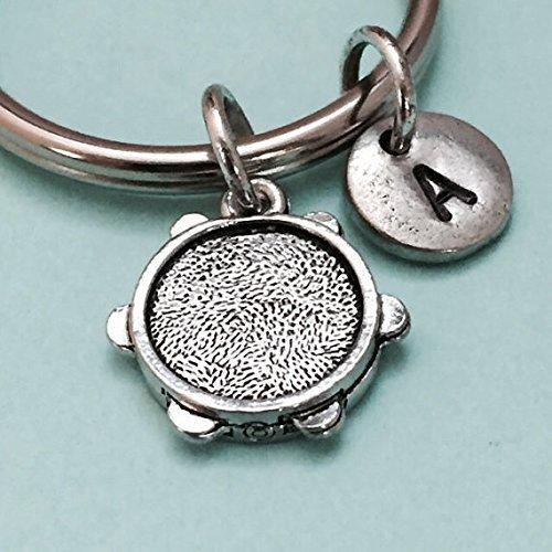 Tambourine keychain, tambourine charm, music keychain, personalized keychain, initial keychain, customized, monogram -