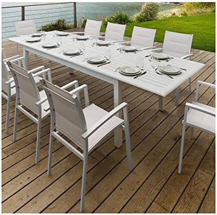 Tavolo Allungabile Alluminio Azua 12 Persone Eminza Bianco Amazon It Giardino E Giardinaggio