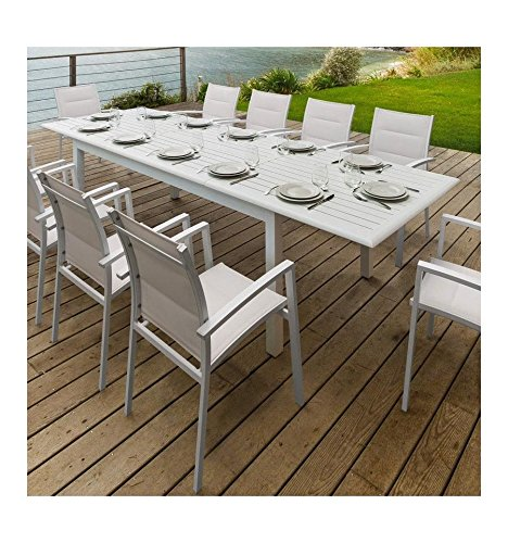AZUA 12 People Hespéride Aluminium Extending Dining Table White ...