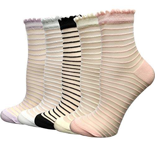 5 Pairs Ultra Thin Summer Socks Women Transparent Lace Elastic Silk Stockings Cityelf Sheer Short Anklets (ONE SIZE FITS ALL, cross stripe)