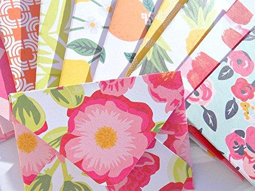 Patterned Envelopes (Floral Gift Card Envelopes Mini Envelopes Pink Green White Yellow Patterned Envelopes Favors Gift Card Envelopes)
