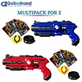 GoBroBrand Laser Tag Gun Toy Blast Set - The Lazer tag Gun set includes 4 Team player settings, 2 guns 2 Badges, 2 Belts, 10 Cards, - Best Toy Gift Kids For Boys Girls age 3, 4, 5, 6years - 12yrs old