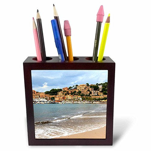 3dRose Danita Delimont - Cities - Spain, Balearic Islands, Mallorca, Port of Soller historic waterfront - 5 inch tile pen holder (ph_277908_1) by 3dRose