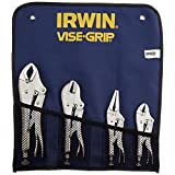 Irwin 428GS Vise Grip 4-Piece 6-Inch Long Nose, 7-Inch Straight Jaw and 10-Inch and 5-Inch Curved Jaw Locking Plier Set