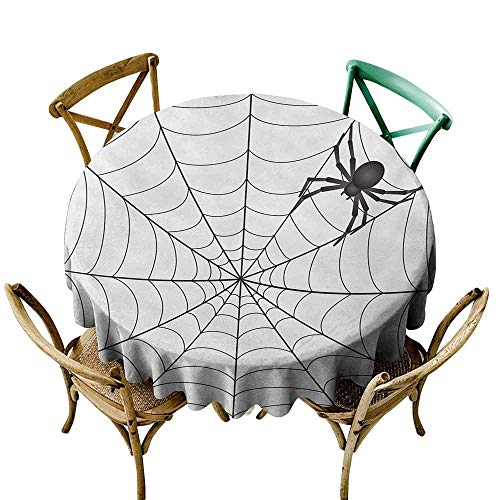 (Zmstroy Restaurant Tablecloth Spider Web Gothic Fairytale Elements Creepy Scary Dangerous Spider Sticky Catch Table Decoration D47 Charcoal Grey White)