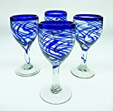 Mexican Glass, Wine, Hand Blown, Blue Swirl (Set of 4) 10 Oz