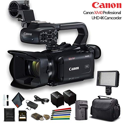 Canon XA40 Professional UHD 4K Camcorder (3666C002) W/Extra Battery, Soft Padded Bag, 64GB Memory Card, LED Light, and More Base Bundle