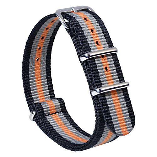 Nato Strap 2 Packs Canvas Fabric Nylon Watch Straps with Stainless Steel Buckle,Adebena Ballistic Replacement Nato Watch Bands Width 22mm - Grey Orange