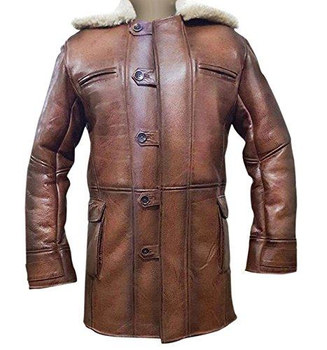 Bane Artificial Fur Shearling Rises Hardy Faux Leather Distressed Brown Knight Coat (Leather Coat Shearling)