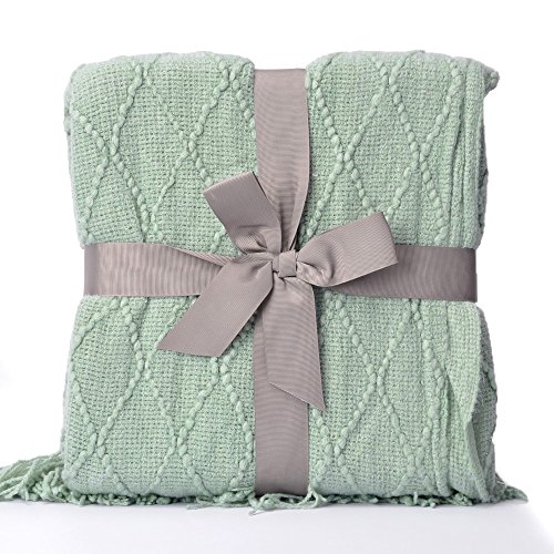 battilo Knit Diamond Pattern Decorative Throw Blanket, 50