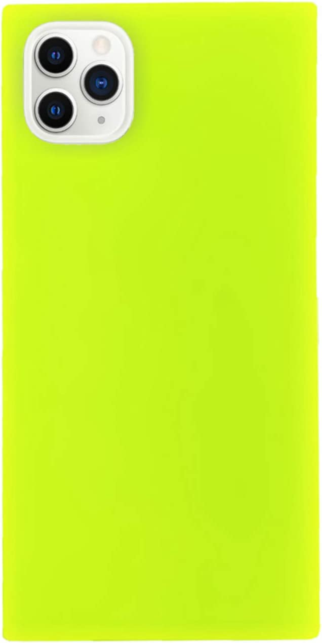Neon Yellow Square Phone Case for iPhone X XS 10 Chic Look Slim Luxury Soft Shockproof Protective Bumper Shell Phone Cover (Neon Yellow, iPhone X/XS)
