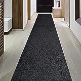 iCustomRug Indoor/Outdoor Utility Berber Loop Carpet Runner and Area Rugs in Dark Charcoal, Many