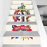 Stair Stickers Wall Stickers,6 PCS Self-adhesive,31st Birthday Decorations,Colorful Greeting Design for 31 Year Geometric Artsy Fun Graphic,Multicolor,Stair Riser Decal for Living Room, Hall, Kids Roo