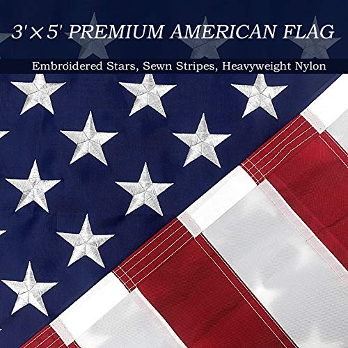 Udekit American US Flag 3x5 ft with Embroidered Stars and Sewn Stripes