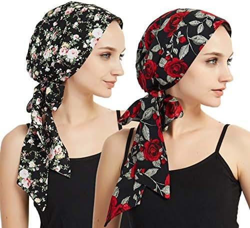 EINSKEY Women's Head Scarf 2-Pack Silky Satin Cancer Chemo Headwear Night Sleeping Headwrap
