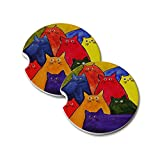 Natural Sandstone Car Drink Coasters (set of 2) - Nine Very Colorful Kitties Bright Colors Abstract Cat Art by Denise Every