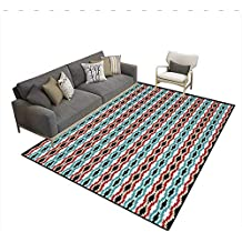Floor Mat,Classical Tribal Eye Dazzler Pattern Colorful Ethnic Illustration Timeless Motifs,Rugs for Bedroom,MulticolorSize:5'x7'