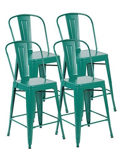 United Chair Tolix Style Metal Stackable Bistro Cafe Bar stools with Back Set of 4 Matt Green 3007-MG-4