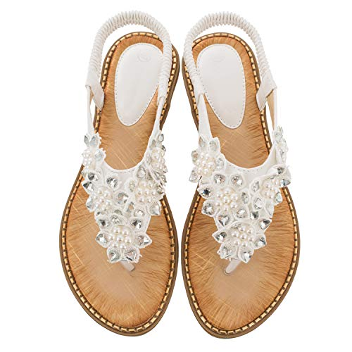 Ruiatoo Comfort Sandals for Women Bohemia T-Strap Ladies Summer Flats Sandals Rhinestone Flower Flip Flops White 39 (Best Beach Wedding Attire)