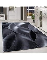 Laagpolig vloerkleed tapijt schaduwpatroon woonkamer tapijt lichtgrijs zwart gemêleerd