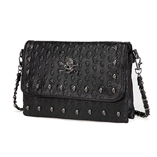 LOYOMA Womens Skull Print Rivet PU Leather Shoulder Bags Tote Purse Handbag (Black Style-1) ()