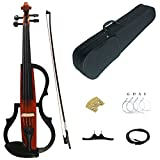 Kinglos 4/4 Orange Colored Solid Wood Advanced 3-Band-EQ Electric / Silent Violin Kit with Ebony Fittings Full Size (SDDS1804)