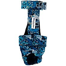 Barkertime Dog Diaper Overall - Made in USA - Turquoise Flower Escape-Proof Washable Dog Diaper Overall, XL, With Tail Hole for Dog Incontinence, Marking, Housetraining and Females in Heat