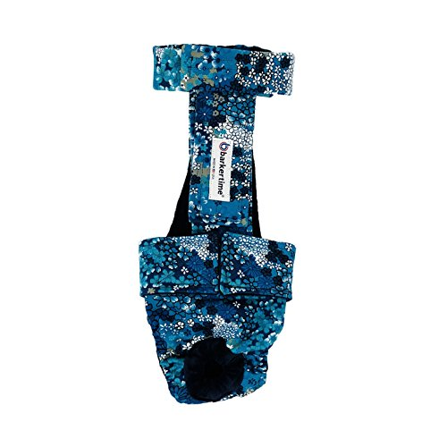 Barkertime Dog Diaper Overall - Made in USA - Turquoise Flower Escape-Proof Washable Dog Diaper Overall, XXL, Without Tail Hole for Dog Incontinence, Marking, Housetraining and Females in Heat by Barkertime