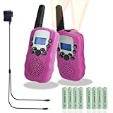 Walkie Talkies for Kids, Rechargeable Long Range Kids Walkie Talkies, with Rechargeable Batteries and Charger, 2 Way Radio With Flashlight 22 Channel, Kids Toys Walkie Talkies, 2 pack (Pink)