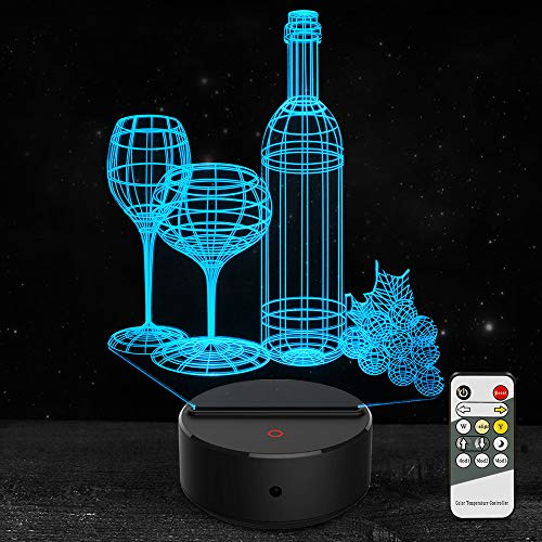 Lamp Bar Bottle - 3D Night Light Wine Cup Bottle Led Light Optical Illusion Lamp 7 Color Changing with Remote Birthday Christmas Gifts for Kids Girls Adults Home Wine Bar Decoration