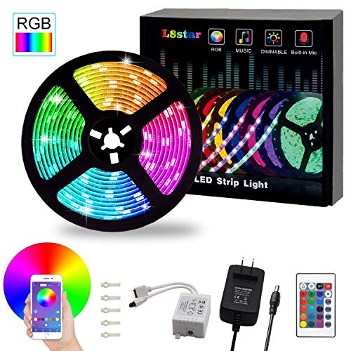LED Strip Lights, L8star 16.4ft RGB 5050 LEDs Color Changing Kit,24key Remote Control and Power Supply with Bluetooth Smartphone APP Controller for Home Kitchen Christmas Indoor Decoration